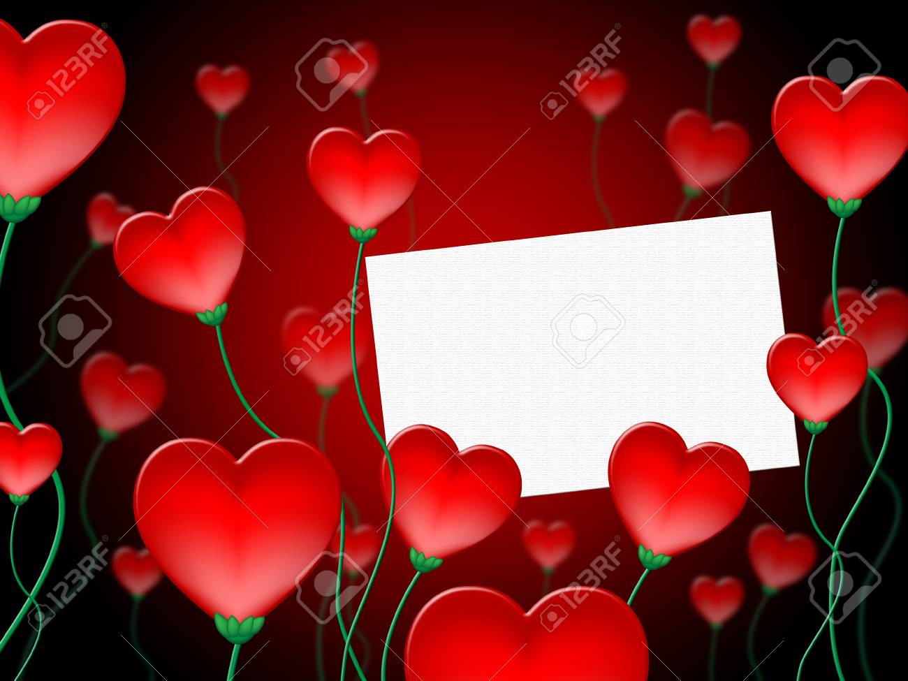 Heart Message Meaning Valentine Day And Affection Stock Photo
