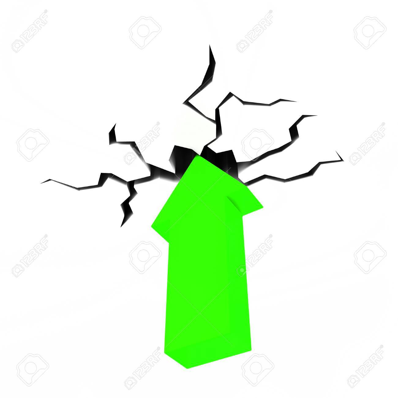 arrow through roof meaning rising success and gain stock photo