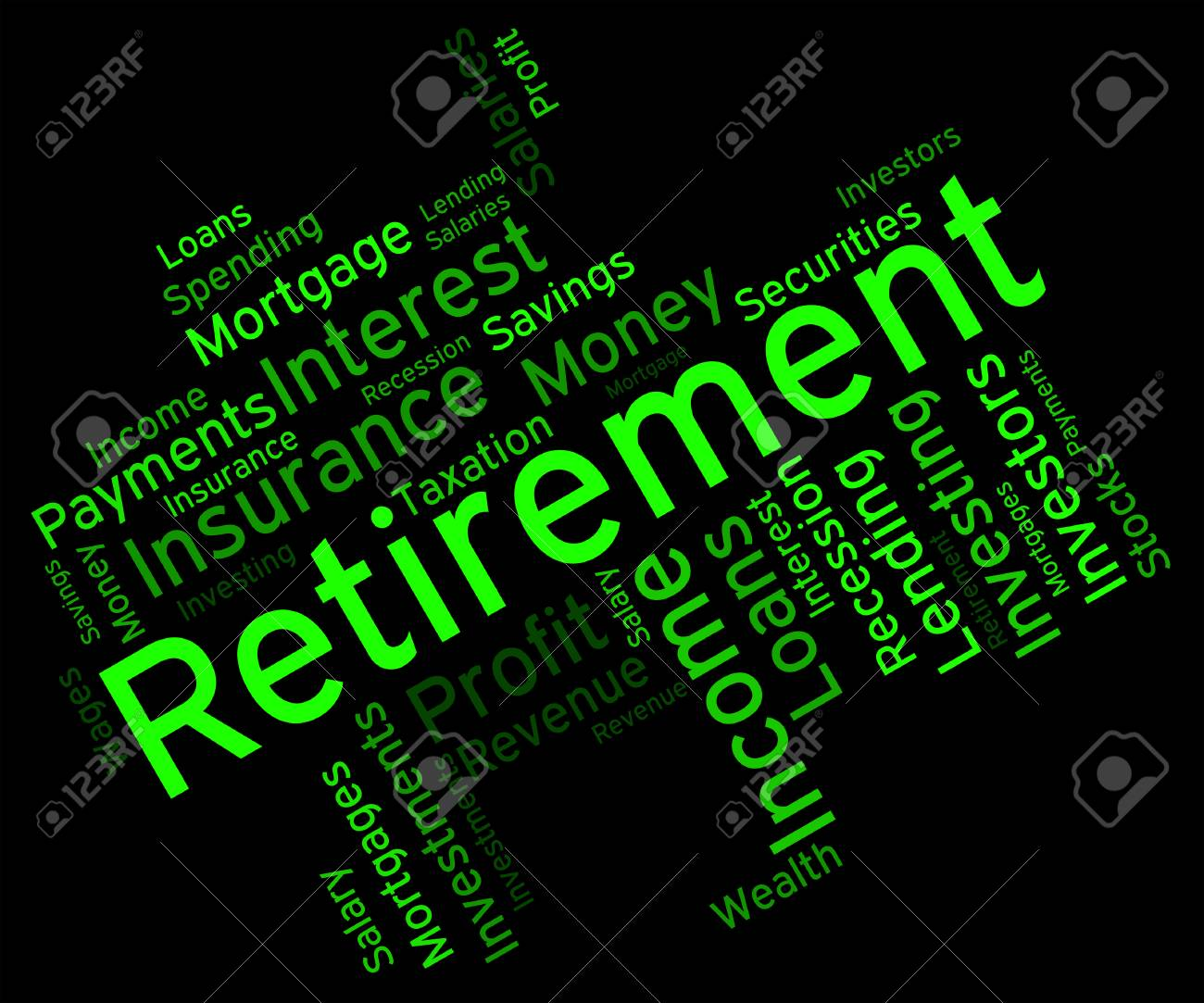 retirement word representing finish working and words stock photo