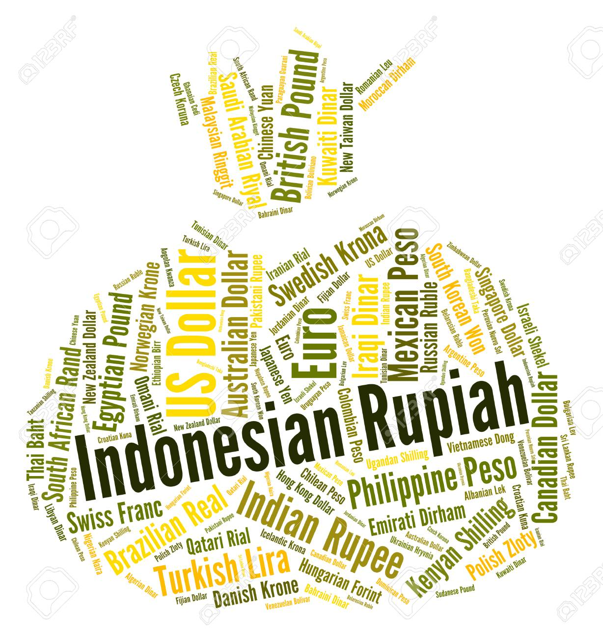 Indonesian Rupiah Showing Exchange Rate And Market Stock Photo