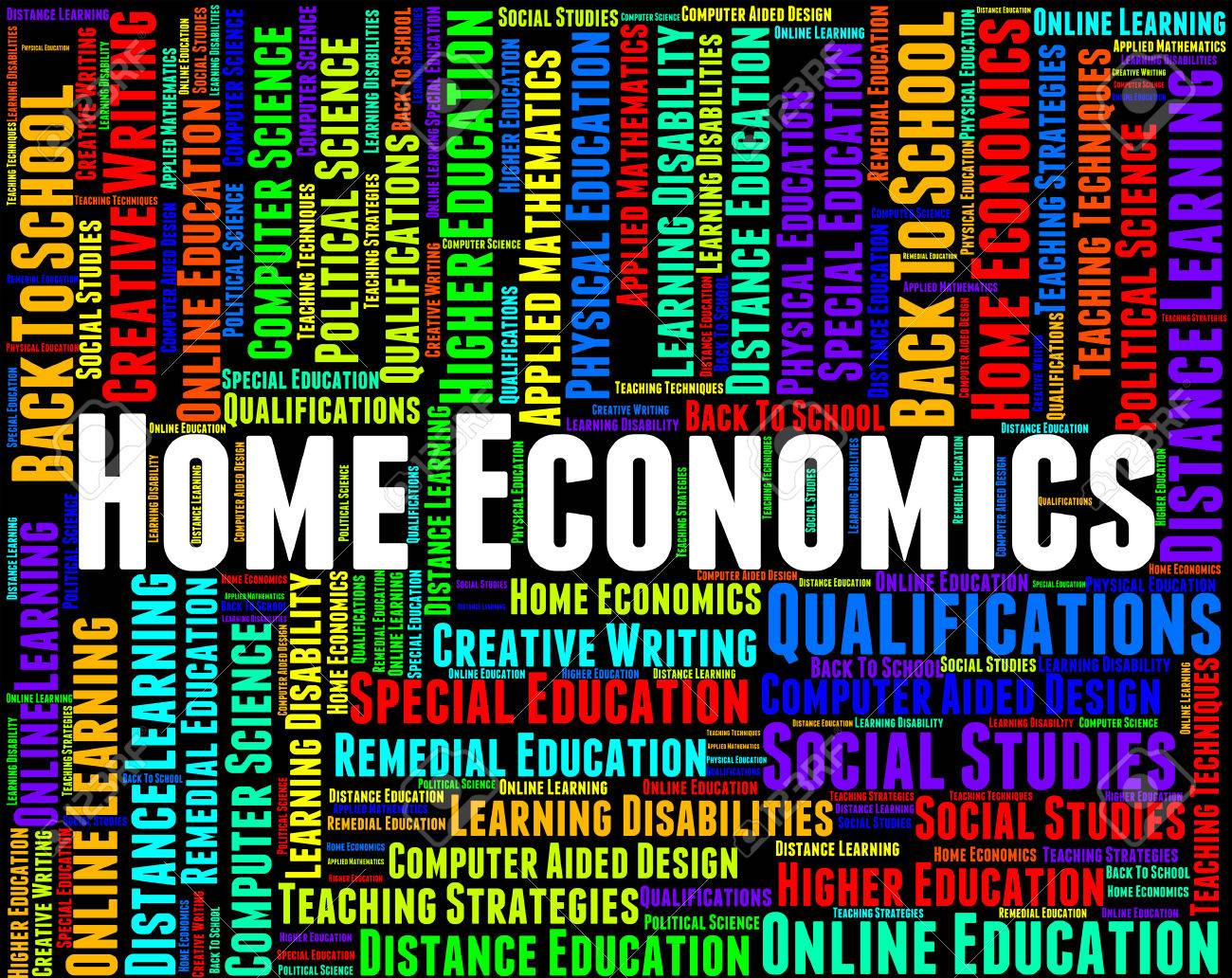 Home Economics Representing Domestic Science And Words Stock Photo