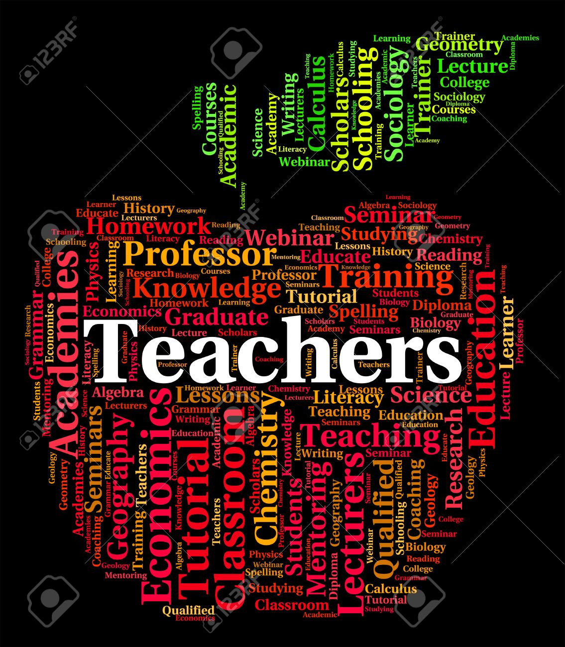 Teachers Word Representing Give Lessons And Text Stock Photo ...