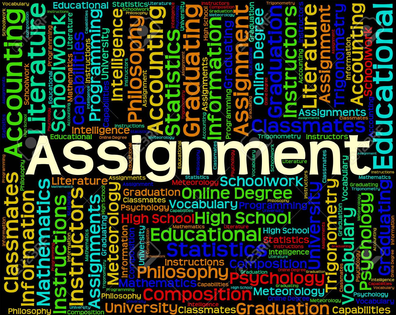 assignment word meaning school work and homework stock photo assignment word meaning school work and homework stock photo 43804309