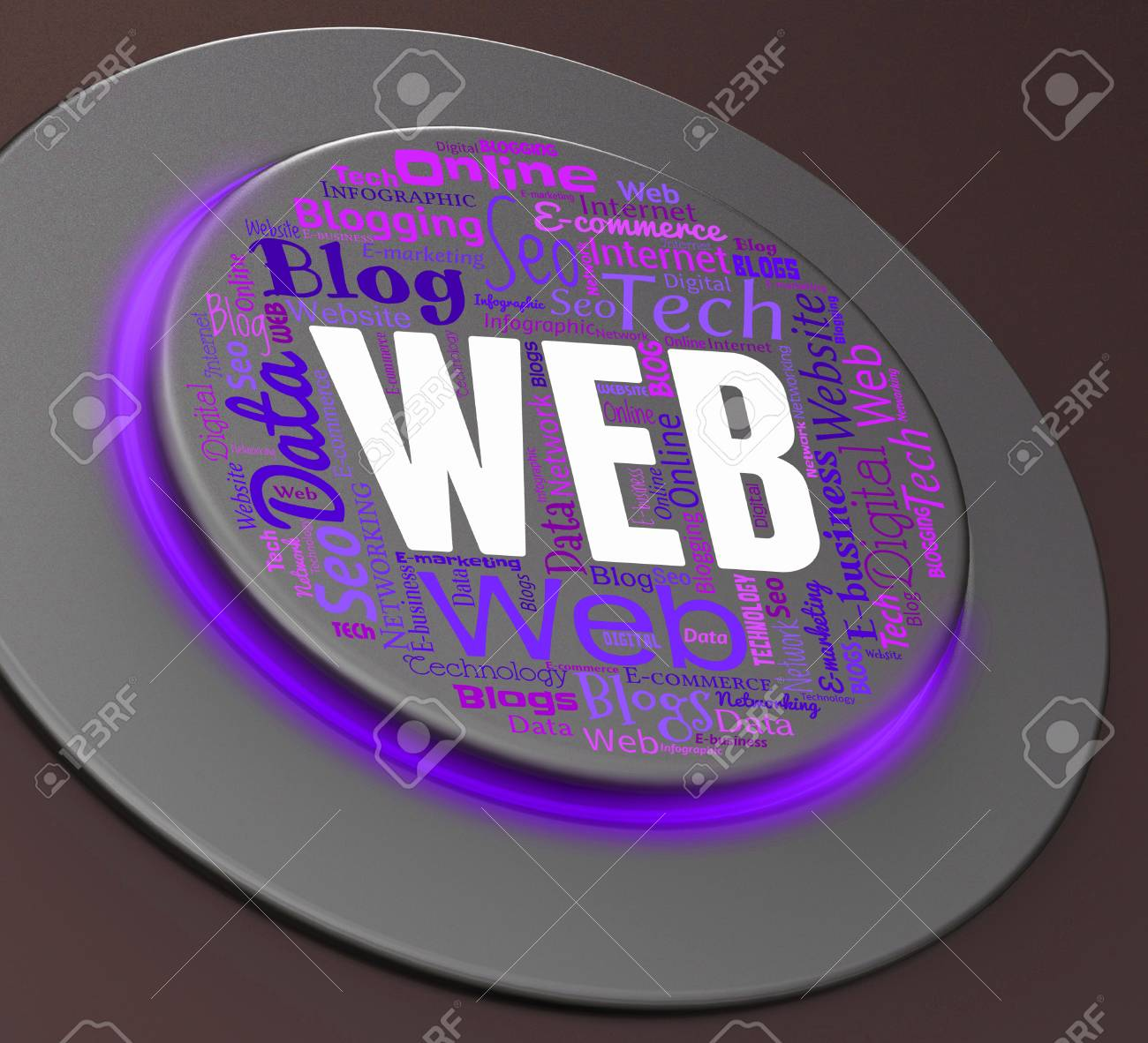 Web Button Indicating Websites Online And Network 3d Rendering Stock ...