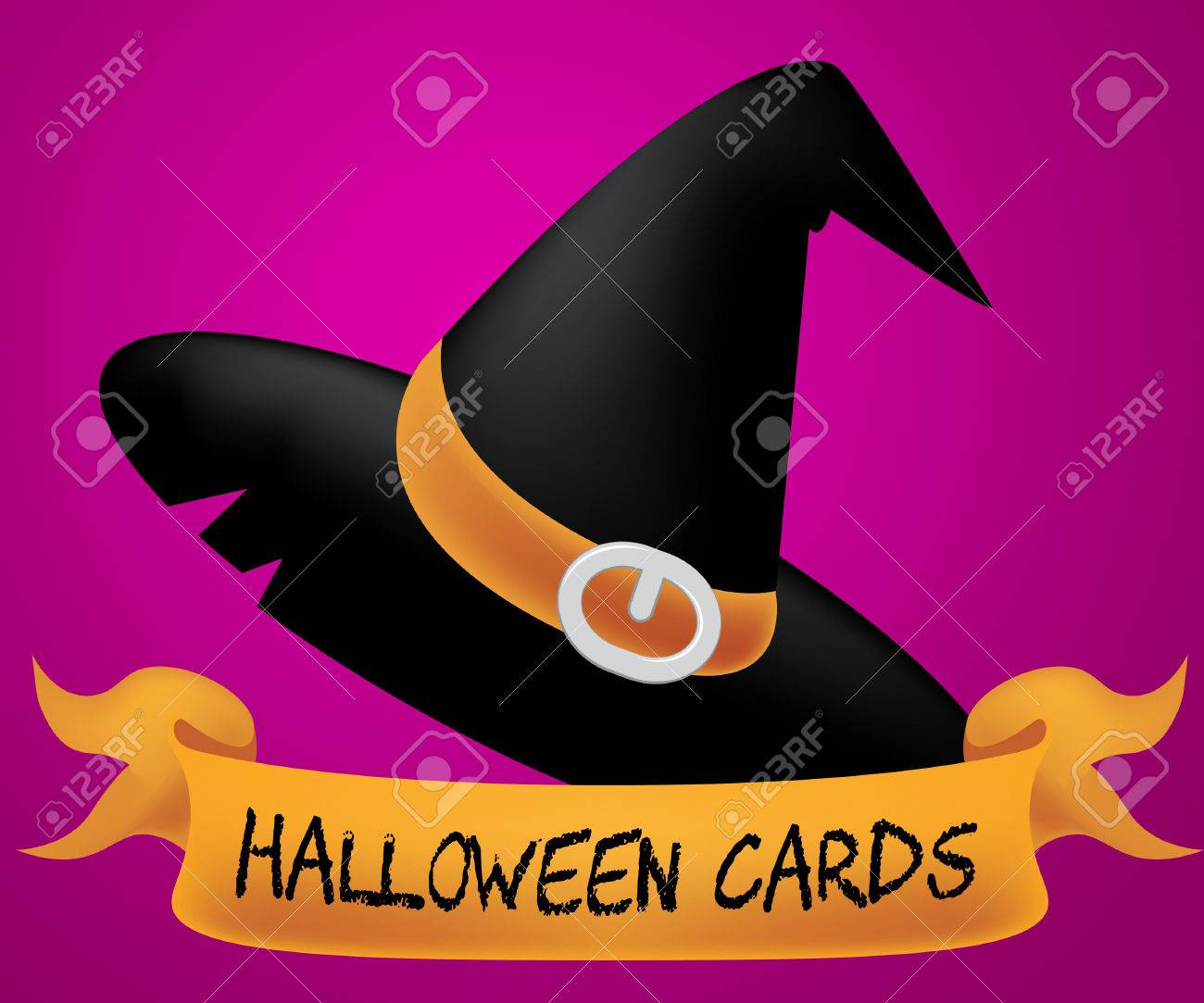 Halloween Cards Meaning Trick Or Treat And Greeting Ghost Stock