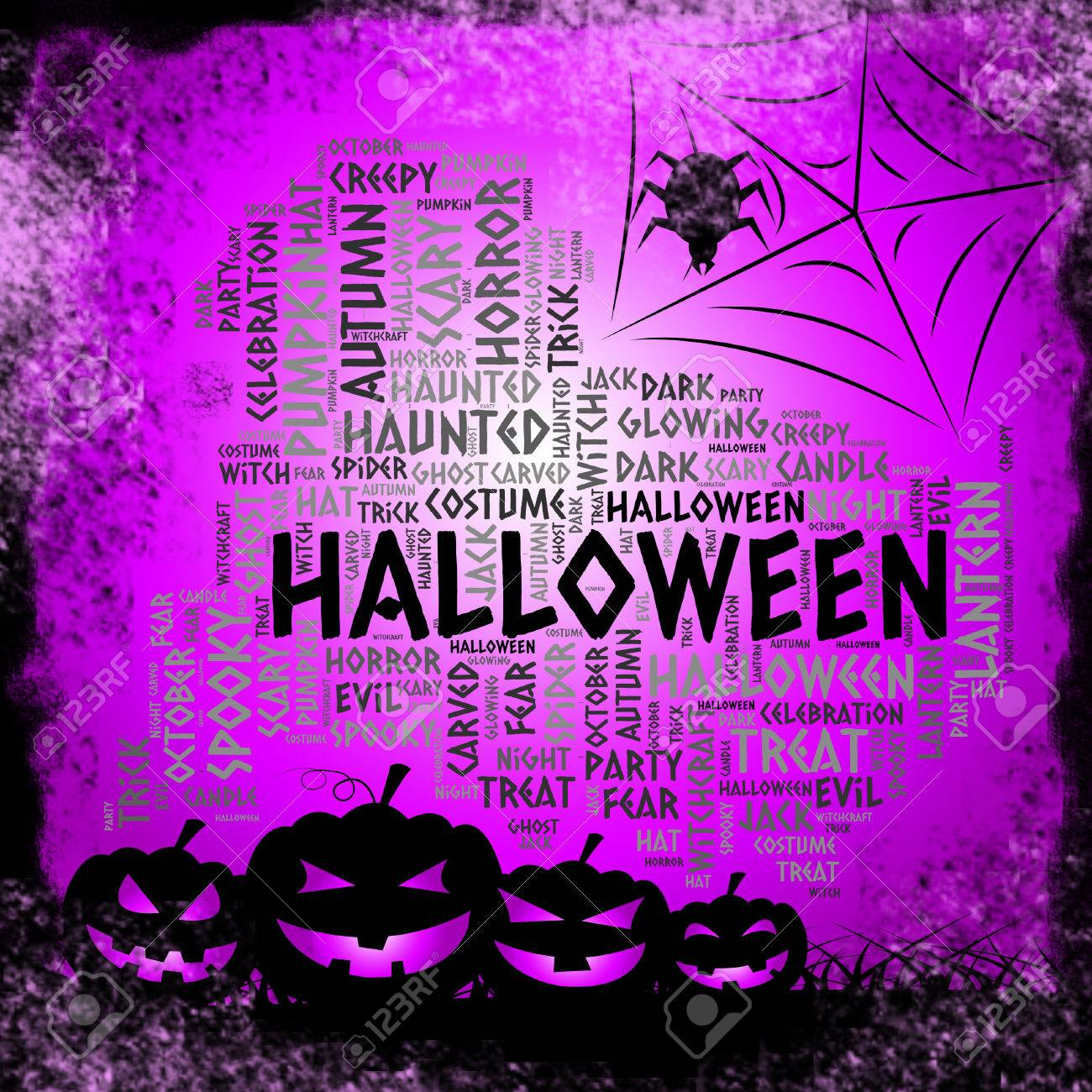 halloween words representing spooky haunted and ghost stock photo 63918910