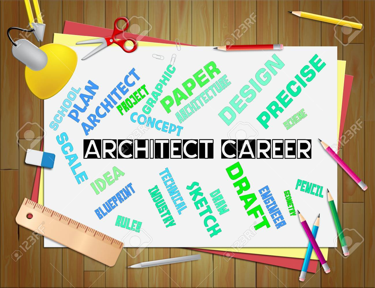 Architect Career Showing Hiring Architecture 3d Illustration Stock ...