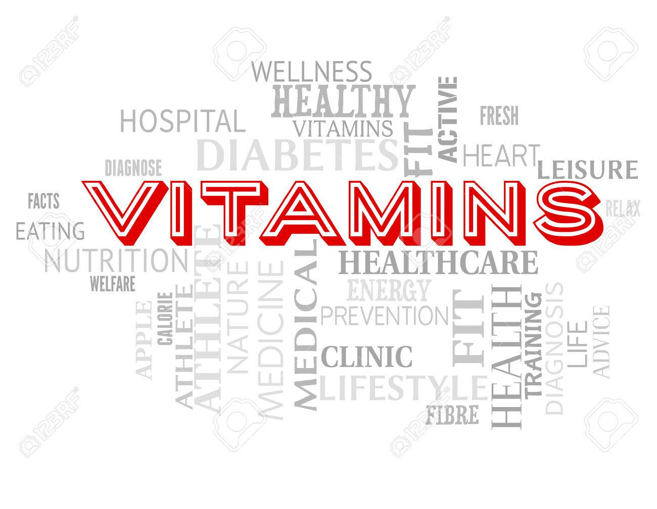 vitamins words indicating nutritional supplements and multivitamins