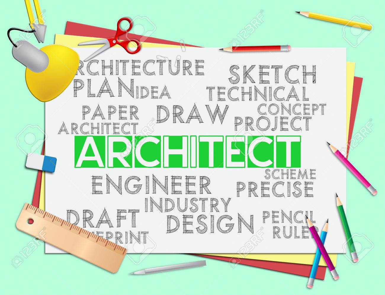 Architect Words Meaning Architecture Draftsman And Hiring Stock ...