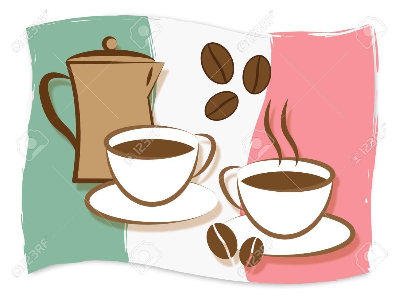 Italienische Flagge Hinter Kaffee Bedeutung Italien Getränke Und ...