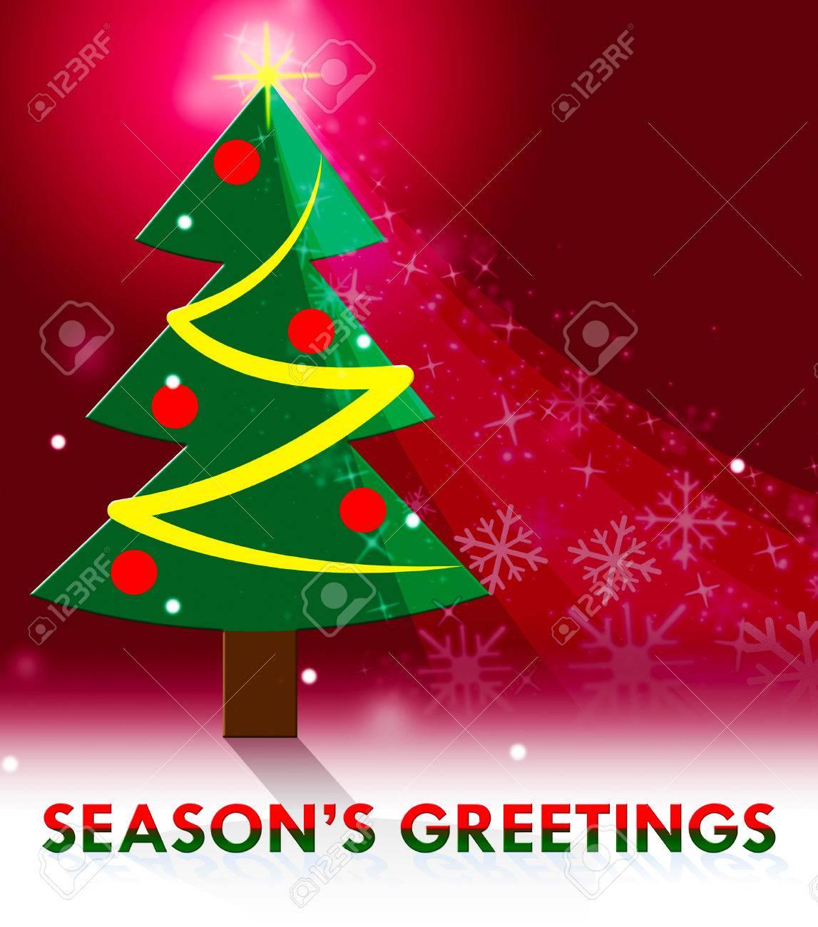 Seasons Greetings Xmas Scene Means Christmas Greeting 3d
