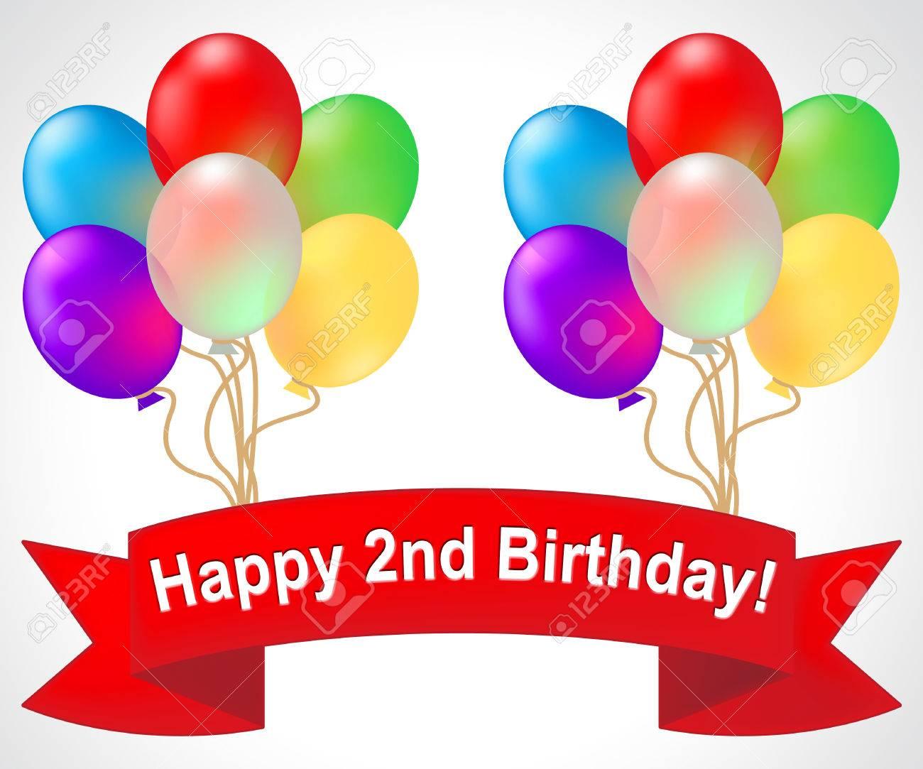 Happy Second Birthday Balloons Means Congratulation Celebration 3d Illustration Stock