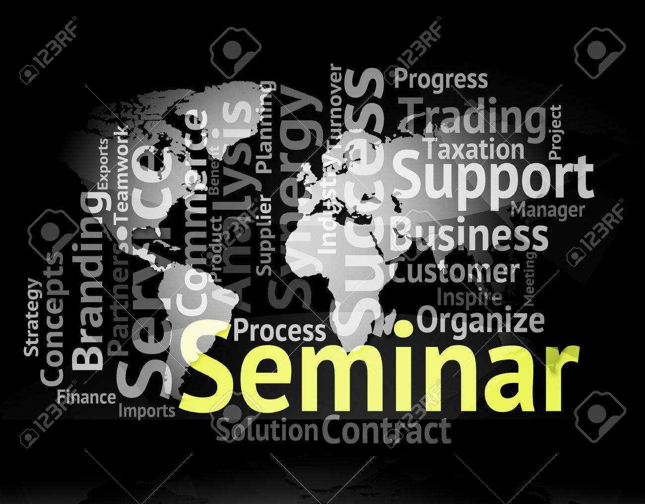 seminar word world map means symposium forum and wordclouds stock photo 68830677
