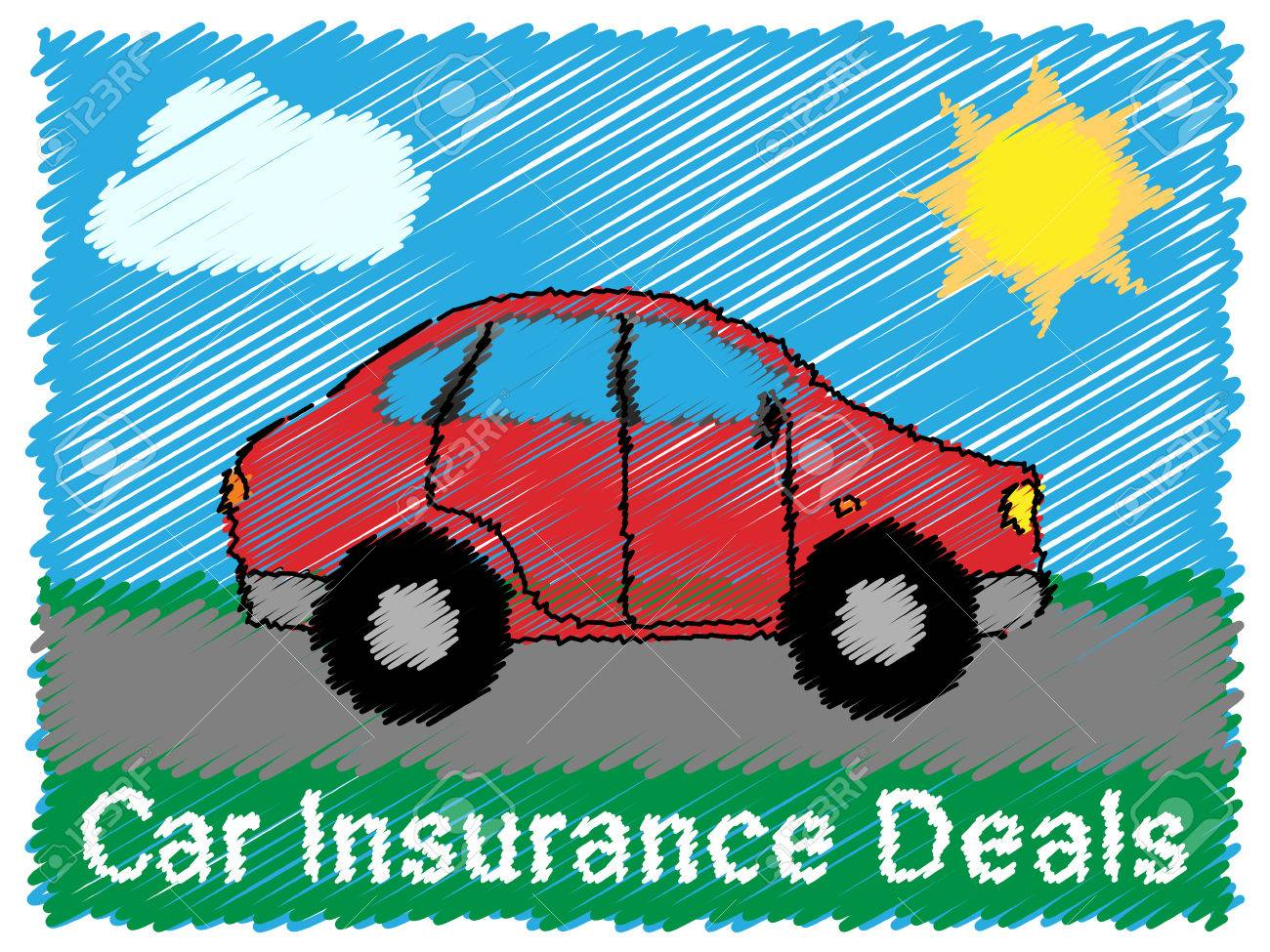 Car Insurance Deals Road Sketch Means Car Policy 3d Illustration ...