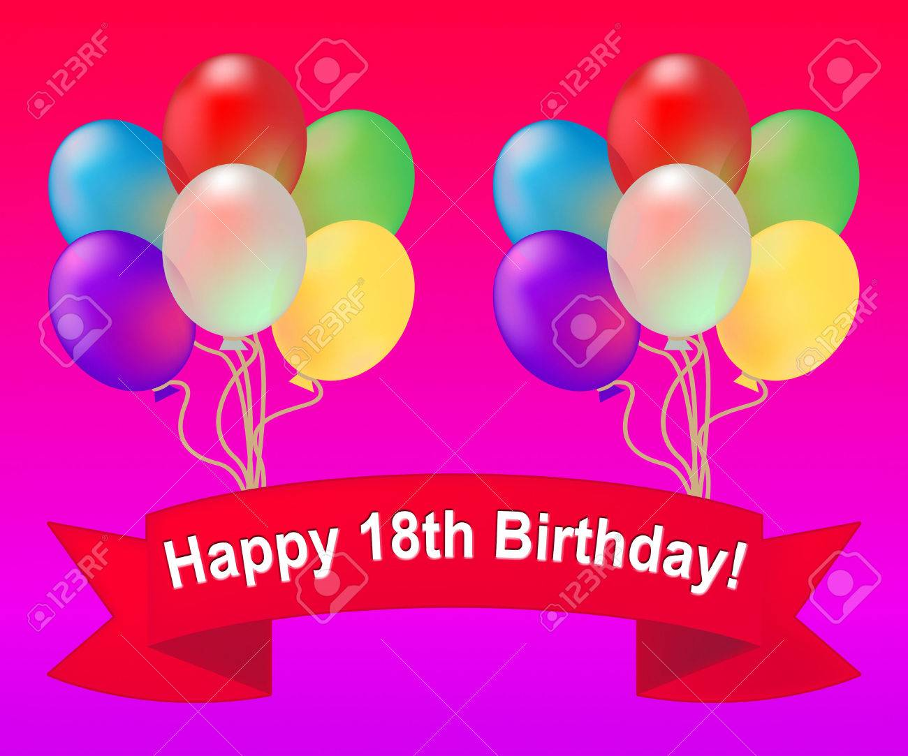 Happy Eighteenth Birthday Balloons Meaning 18th Party Celebration 3d Illustration Stock