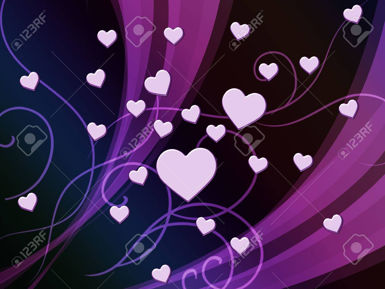 Purple Hearts Background Showing Romantic And Passionate Wallpaper Stock Photo