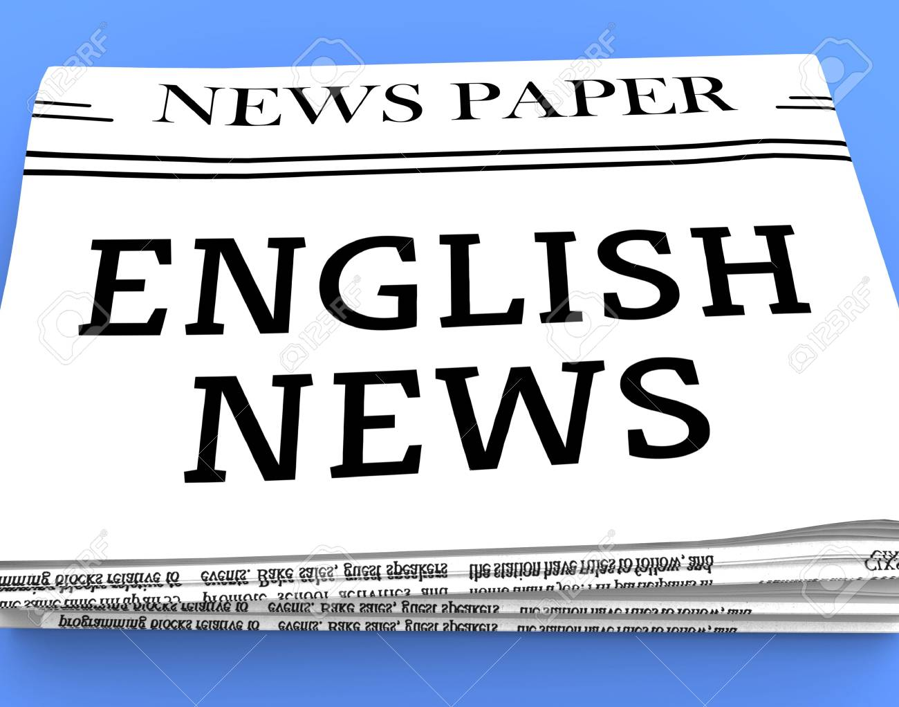 English News Newspaper Shows England Newspapers 3d Rendering Stock Photo, Picture And Royalty Free Image. Image 70551963.