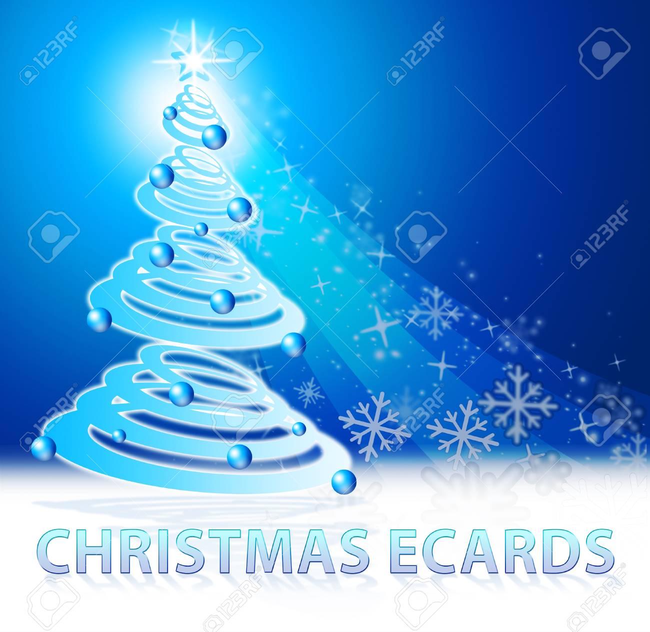 Christmas Ecards Tree Scene Shows Xmas Cards 3d Illustration Stock ...