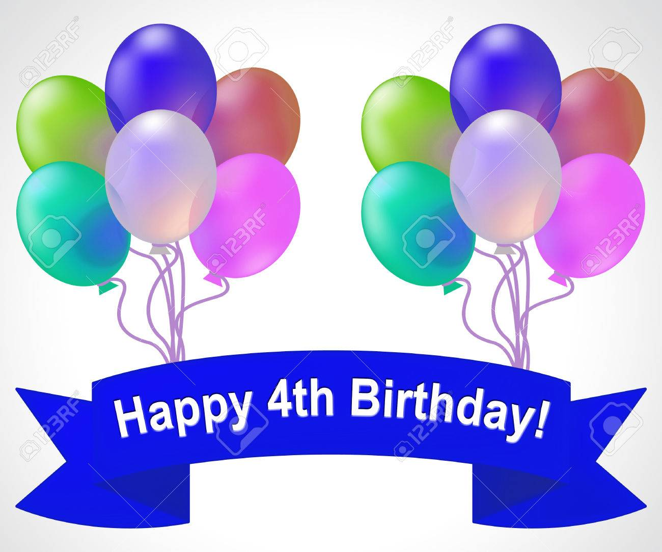 Happy Fourth Birthday Balloons Means 4th Party Celebration 3d Illustration Stock