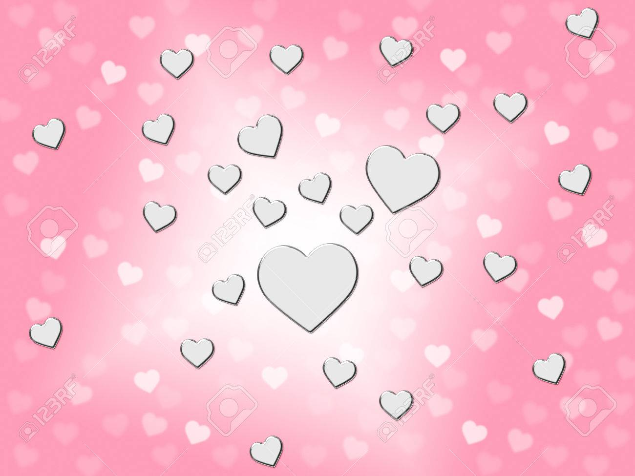 Silver Hearts Red Background Showing Romantic And Passionate Stock
