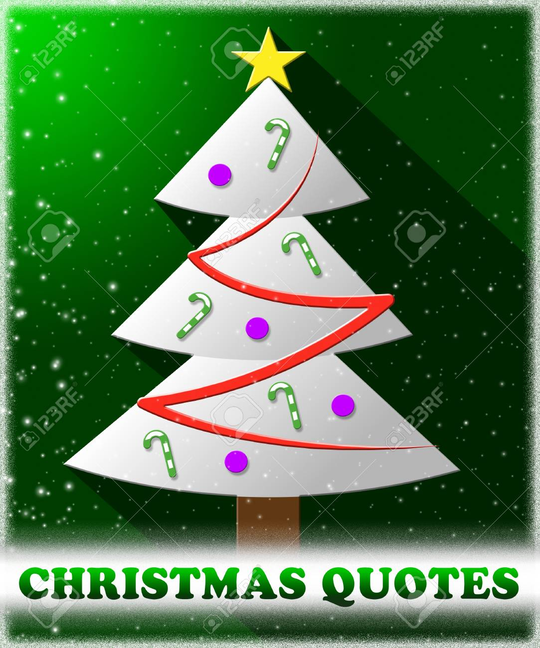 Christmas Quotes Tree Means Happy Xmas Winter Sayings Stock Photo