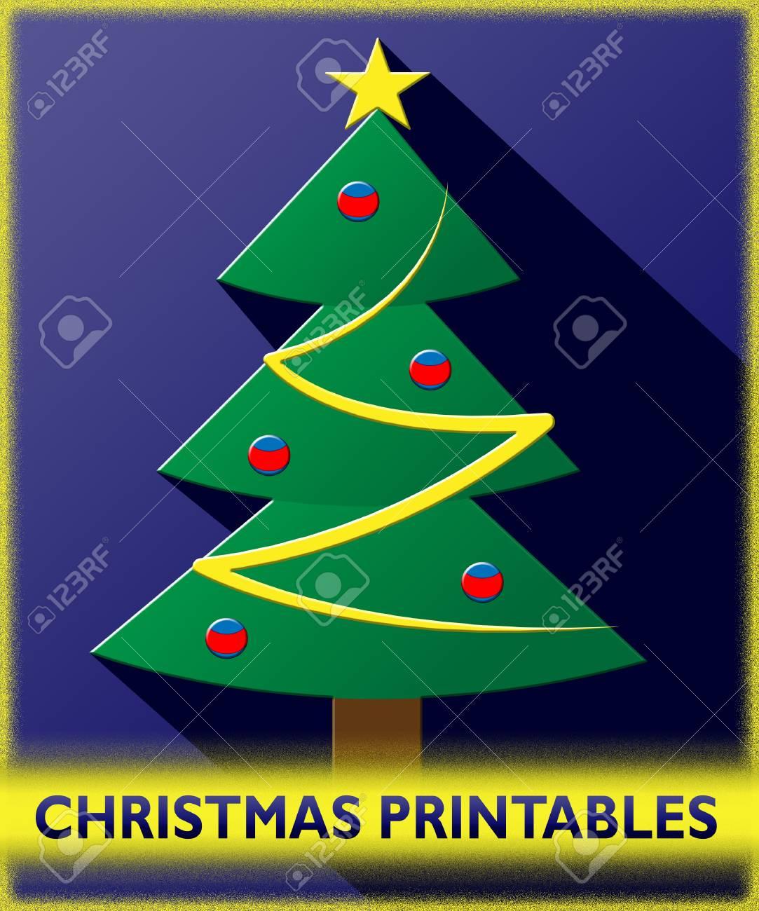 Rbol De Navidad Imprimibles Muestra Navidad Ilustración 3d Fotos ...