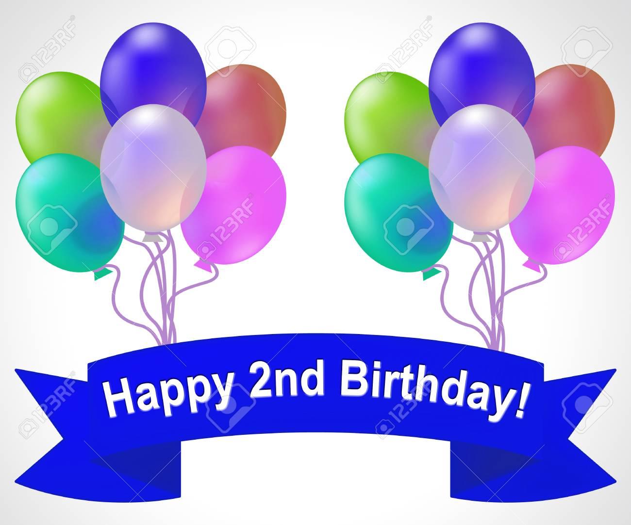 Happy Second Birthday Balloons Meaning Congratulation Celebration 3d Illustration Stock