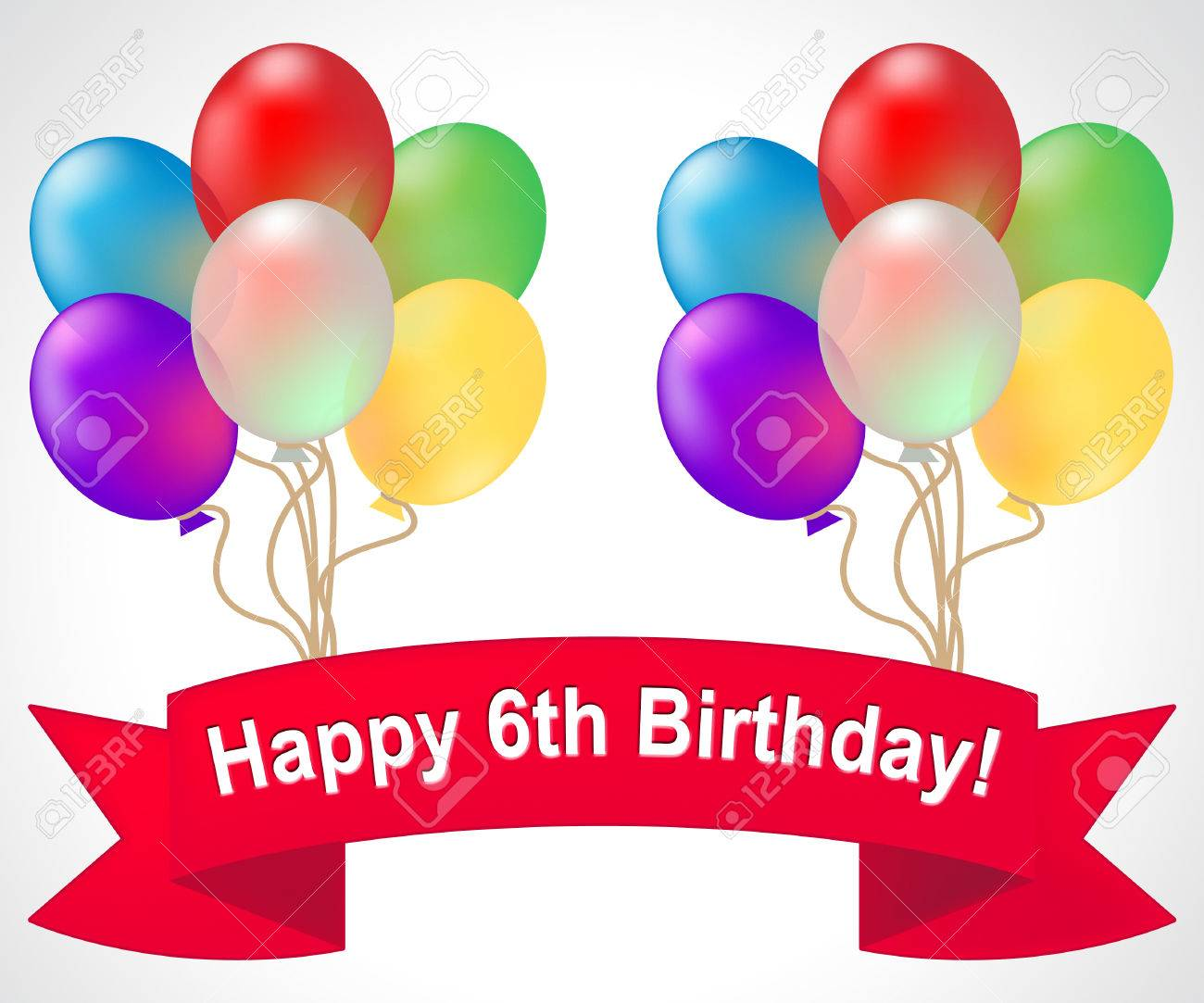 Happy Sixth Birthday Balloons Meaning 6th Party Celebration 3d Illustration Stock