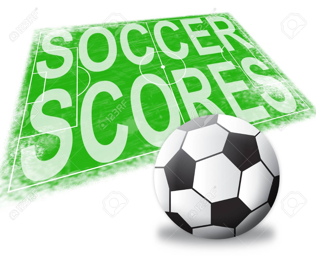 Soccer Scores Pitch Shows Football Results 3d Illustration Stock