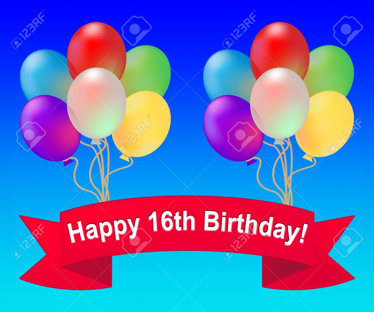 Happy Sixteenth Birthday Balloons Means 16th Party Celebration 3d Illustration Stock