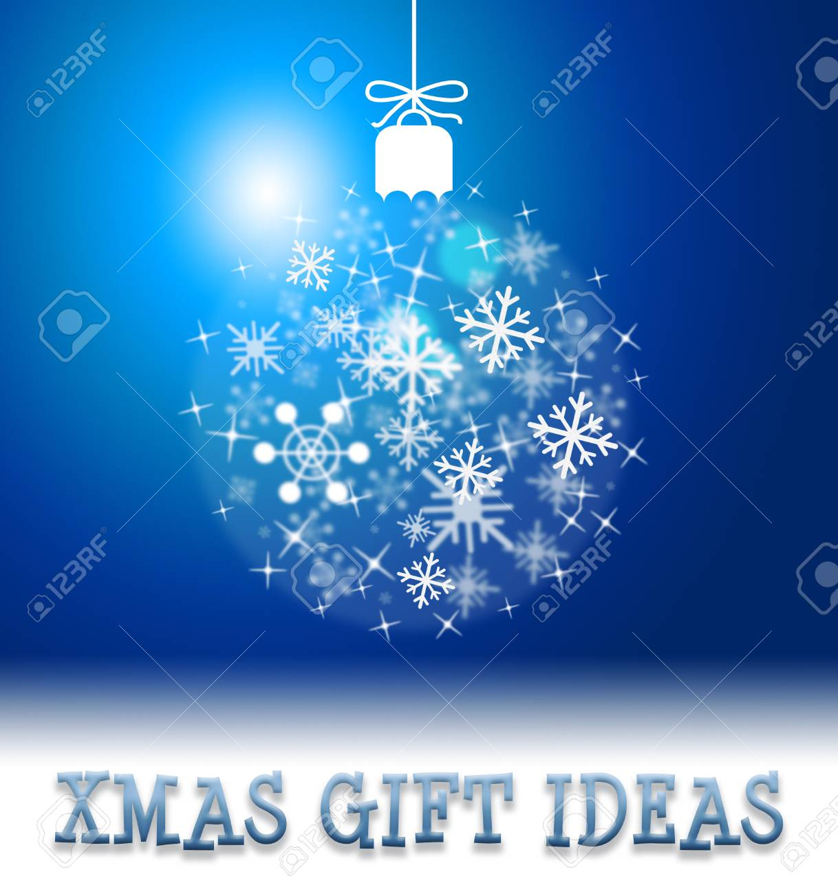 Stock Photo - Xmas Gift Ideas Ball Decoration Shows Christmas Present Suggestions