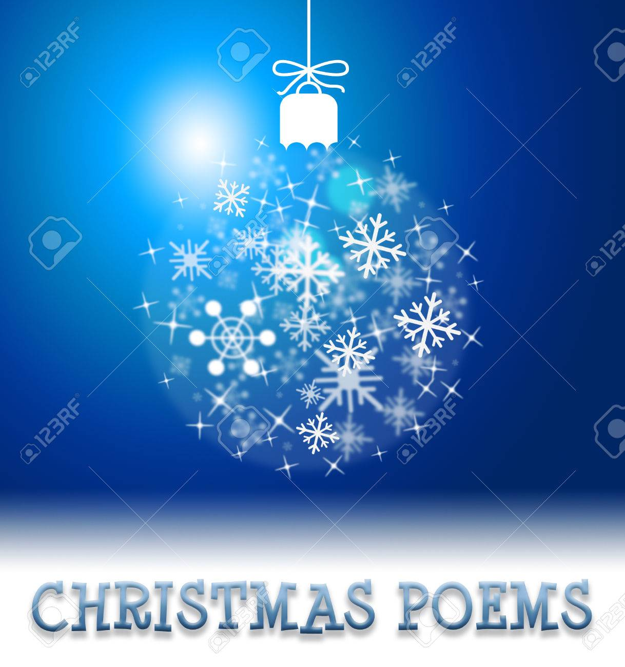 Christmas Poems Ball Decoration Means Happy Festive Greeting.. Stock ...
