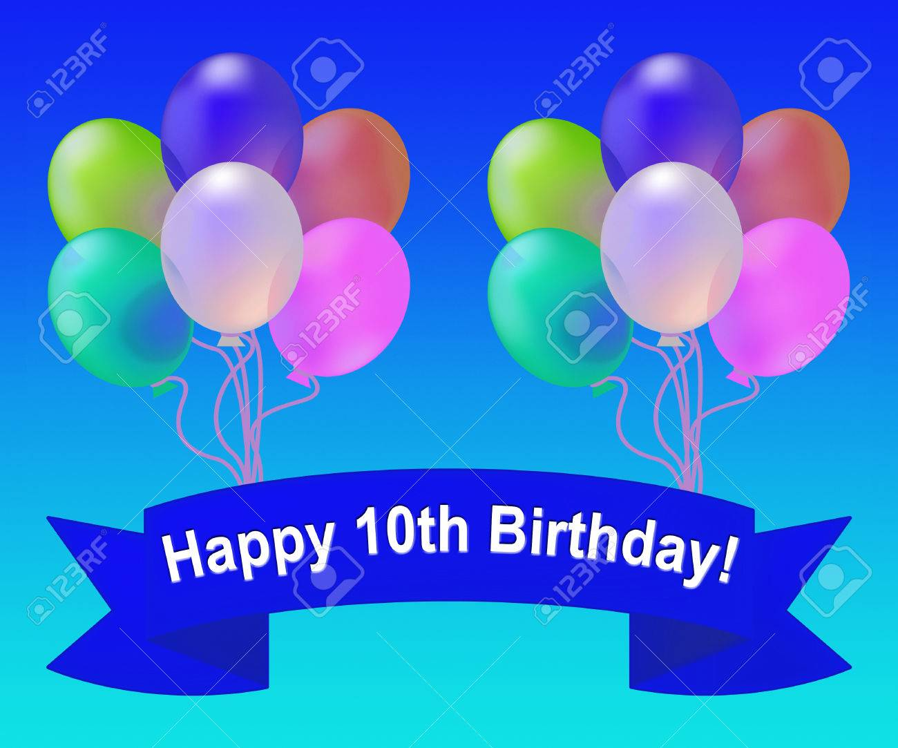 Happy Tenth Birthday Balloons Means 10th Party Celebration 3d Illustration Stock