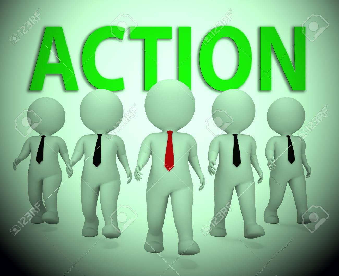Acción Empresarios Carácter Indicando Motivación Empresario Render 3d