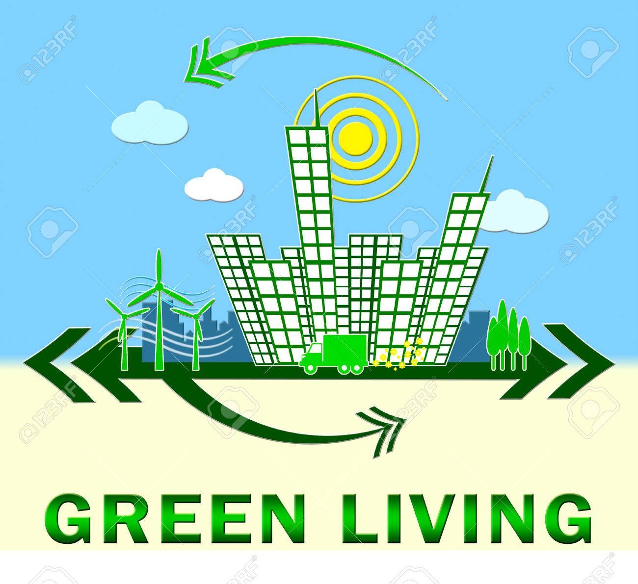 Grün Leben Stadt Bedeutung öko Leben 3d Illustration Lizenzfreie