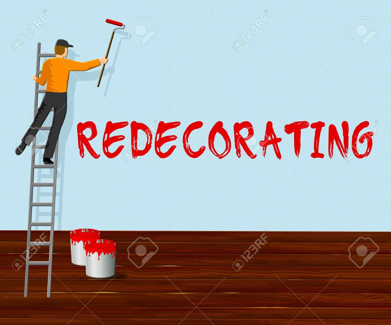 Home Redecorating Showing House Painting 3d Illustration Stock Photo ...
