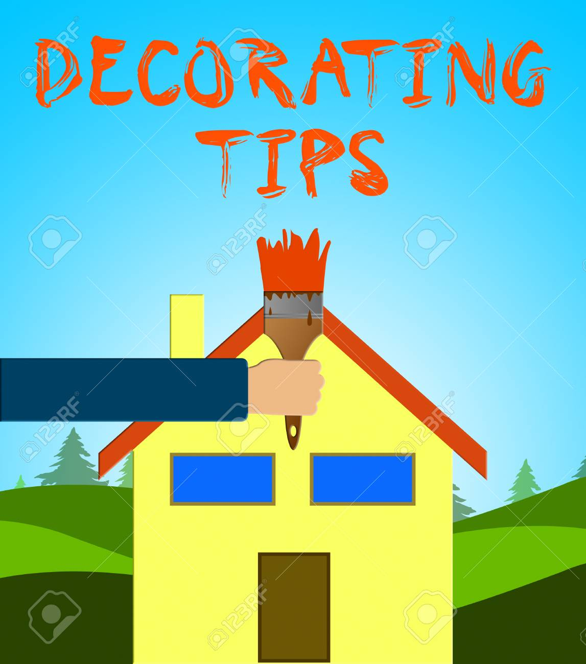Decorating Tips Paintbrush Showing Decoration Advice 3d Illustration Stock  Illustration   79714300