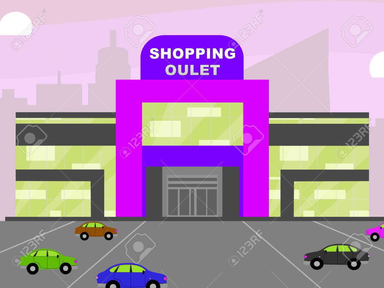 Shopping Outlet Store Meaning Retail Shopping 3d Illustration Stock