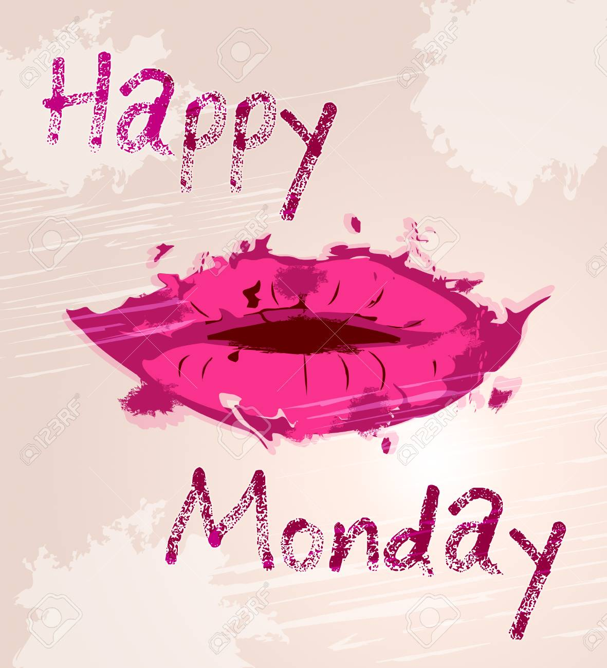 happy monday motivation quote and lips d illustration stock