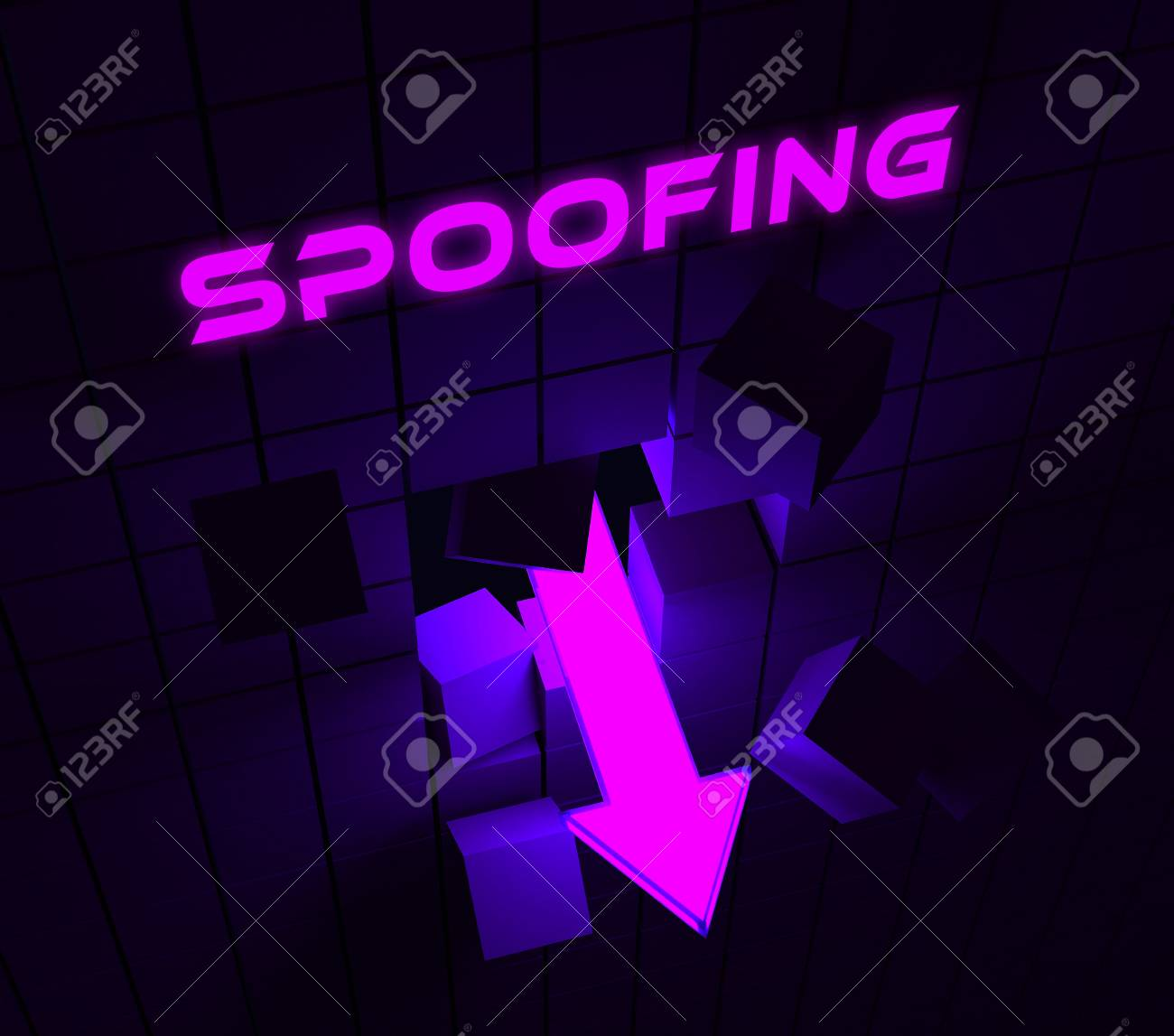 Spoofing Attack Cyber Crime Hoax 3d Rendering Means Website Spoof