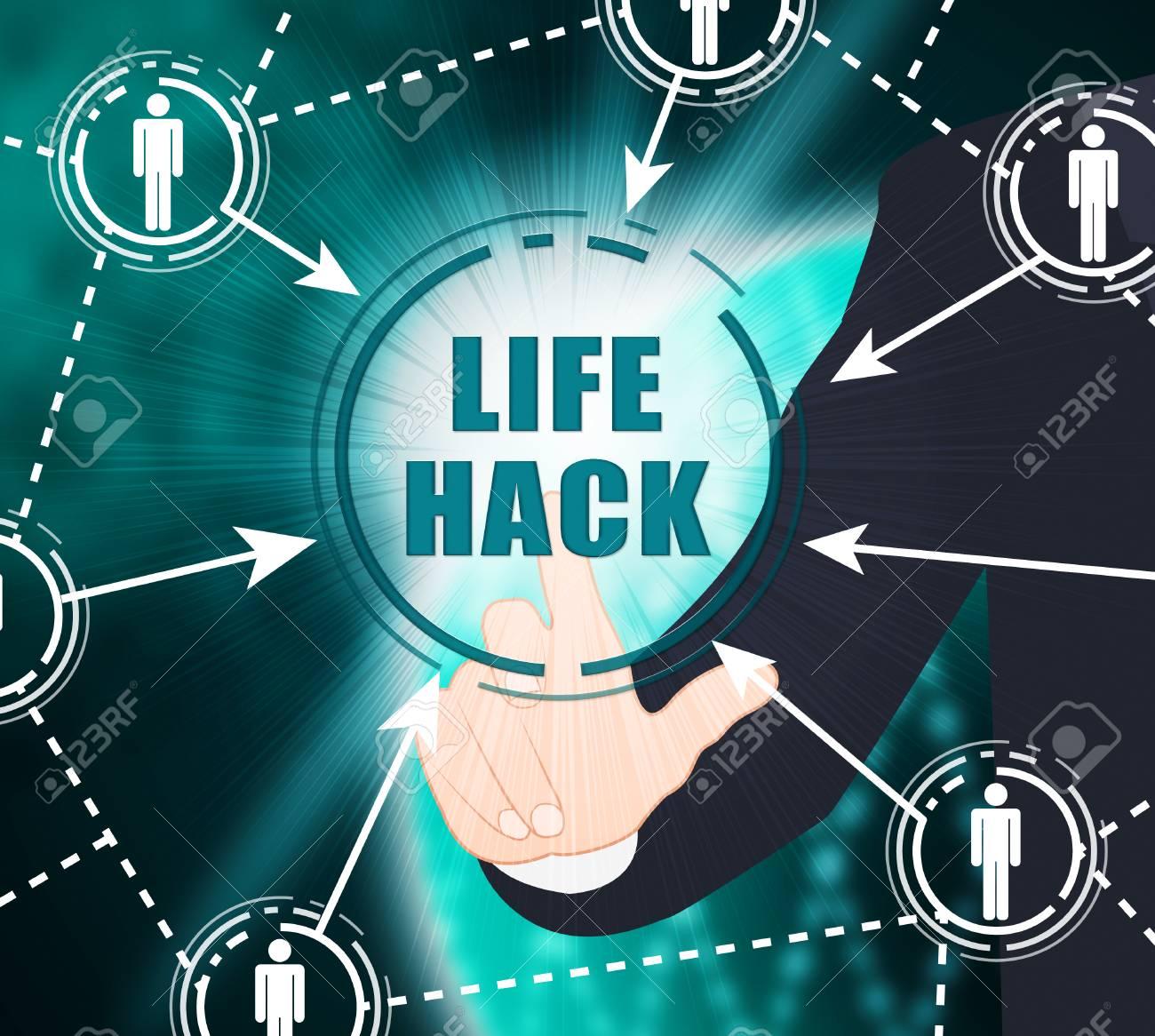 Life Hack Helpful Smarter Tips 2d Illustration Shows Secret Trick