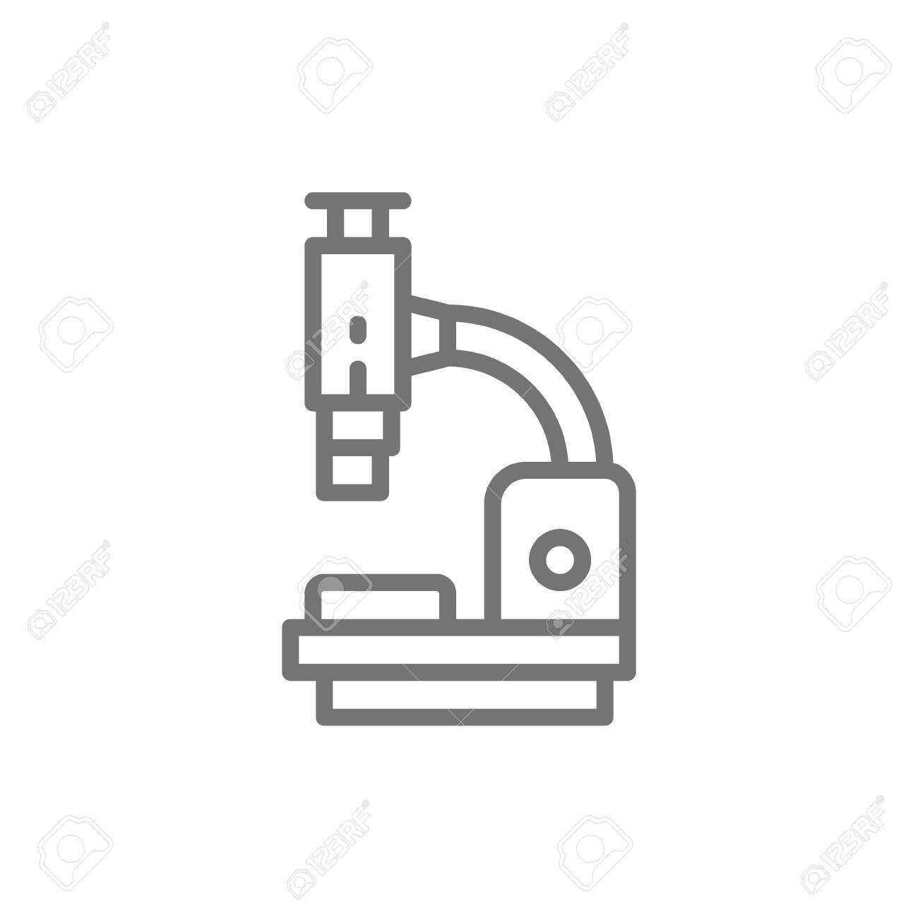 Vector microscope, medical equipment, lab research line icon