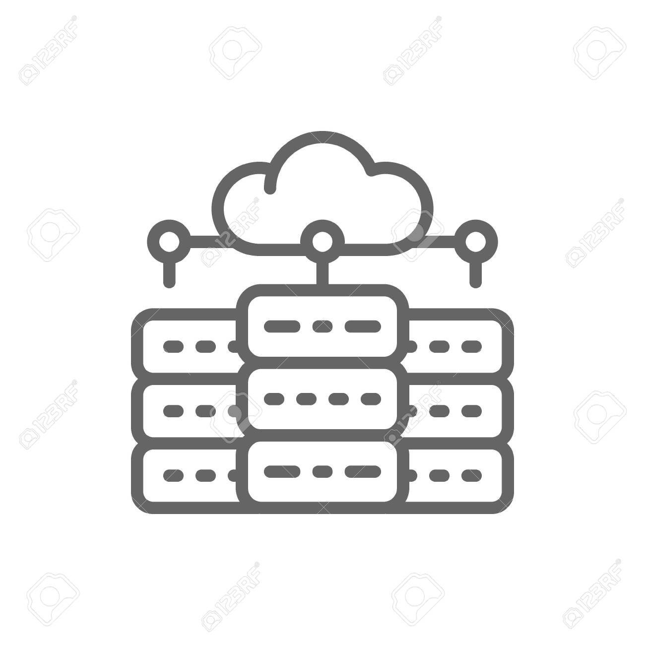 Vector web hosting server, data centre, distributed database line icon. Symbol and sign illustration design. Isolated on white background - 122910441