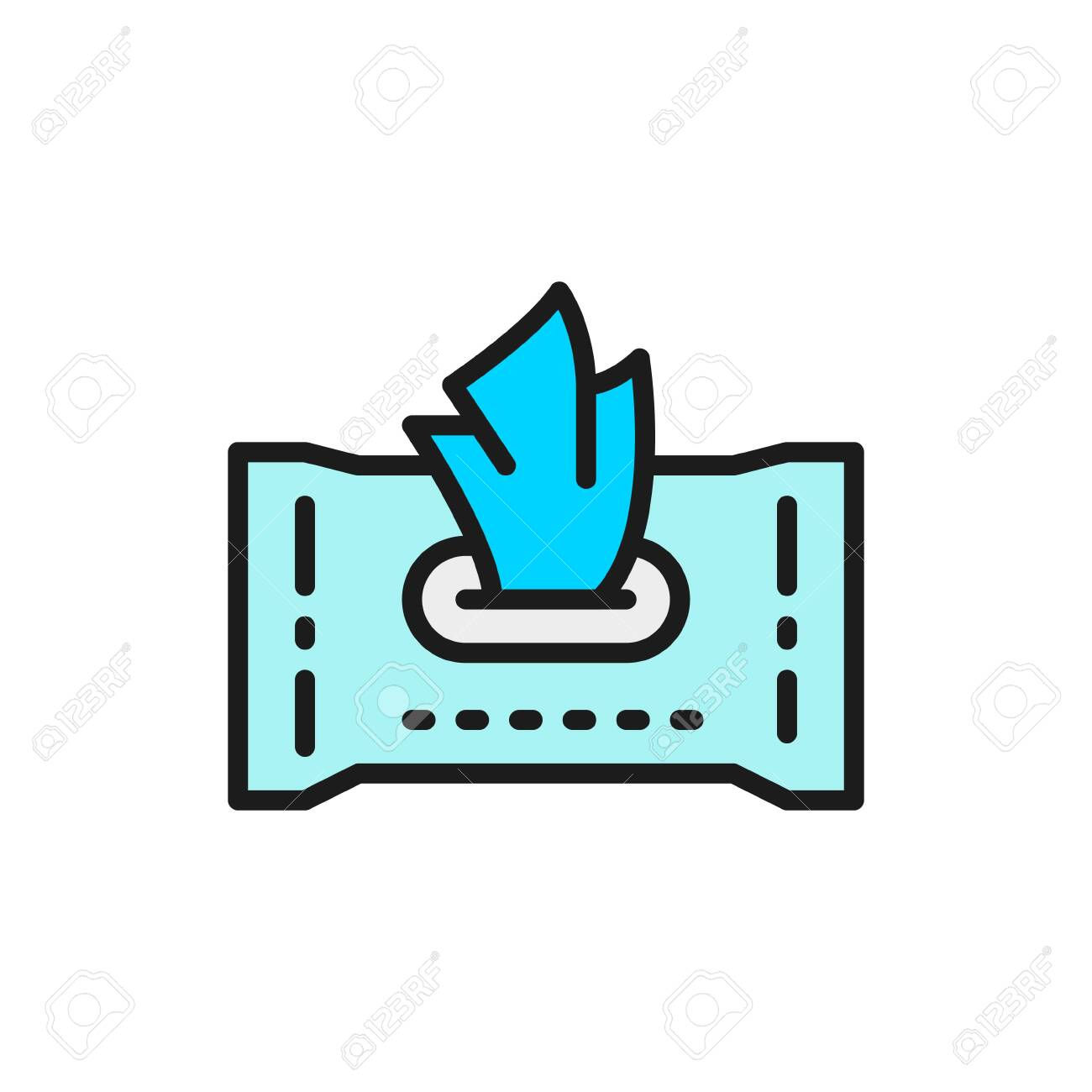 Paper wet wipes flat color line icon. - 144291332