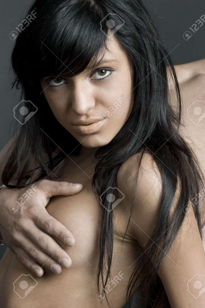 Smart topless brunette Stock Photo - 1897187