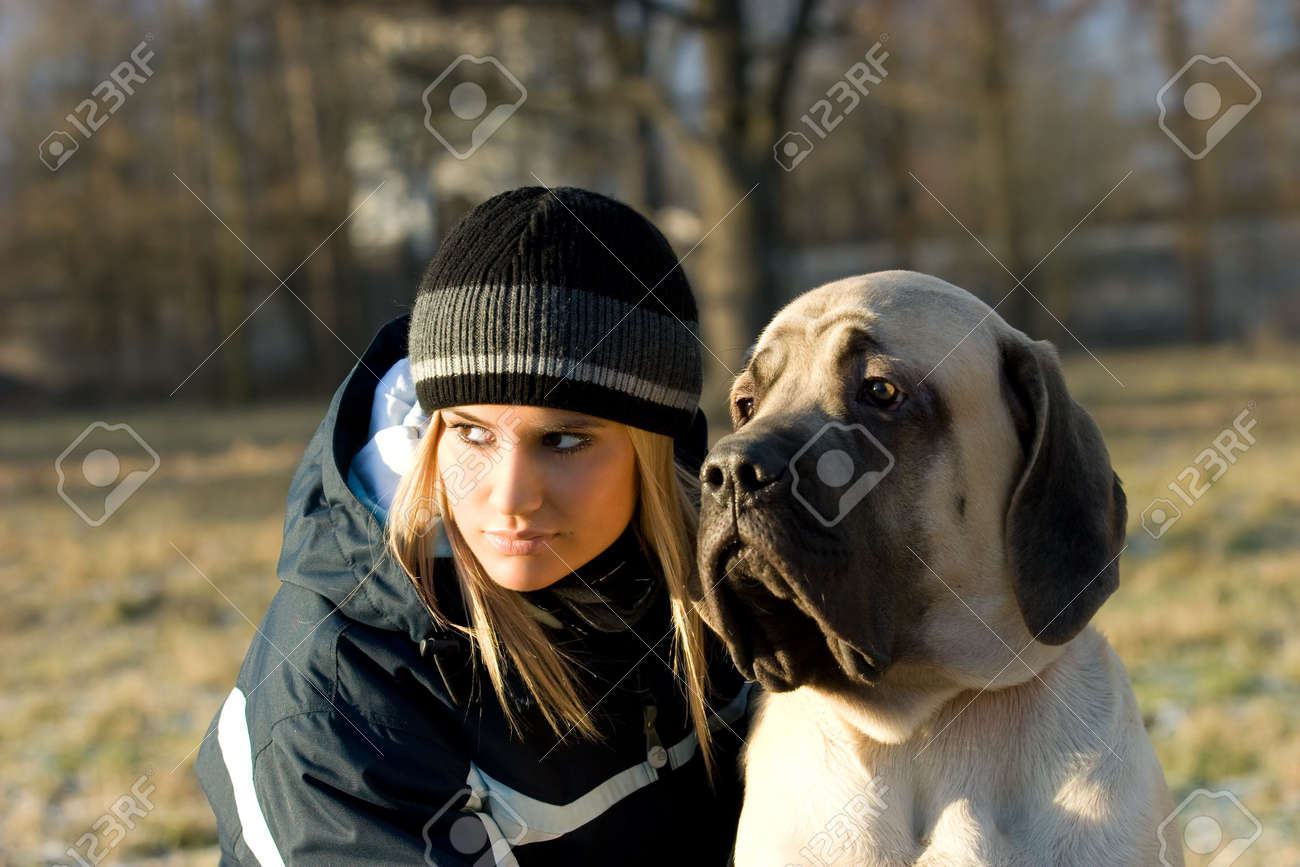 Girl with her english mastiff dog. Stock Photo - 2377551