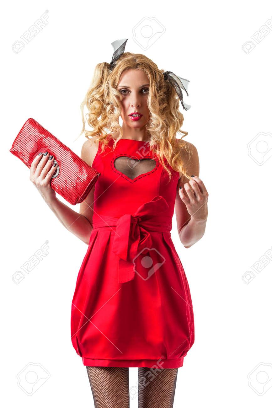 Kühle Mittleren Alters Frau Im Roten Kleid Bereit Für Die Partei ...
