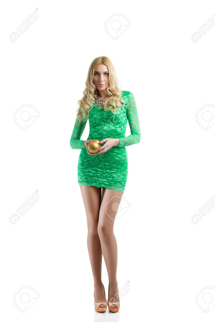 Full-length Portrait Of Middle-aged Blondy Woman In Green Tight ...