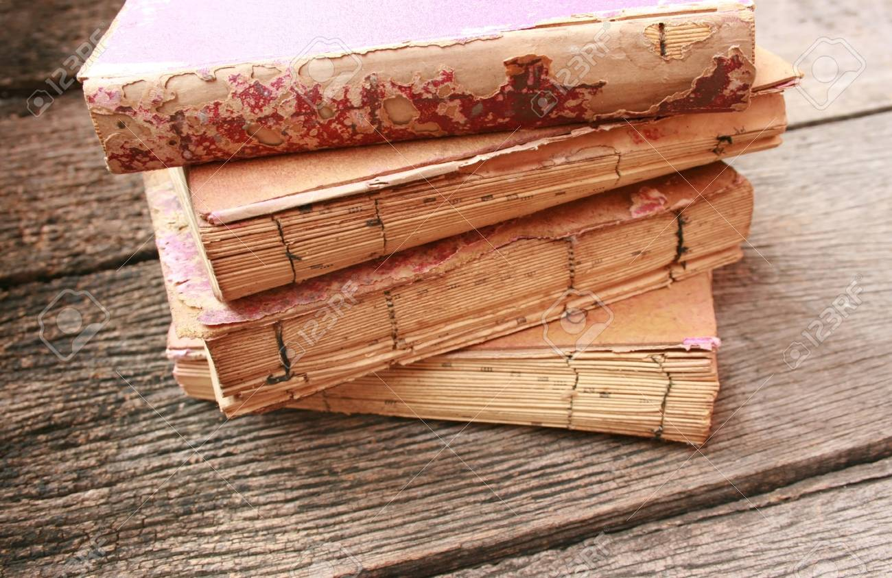 stack old books on old wood Stock Photo - 21564459