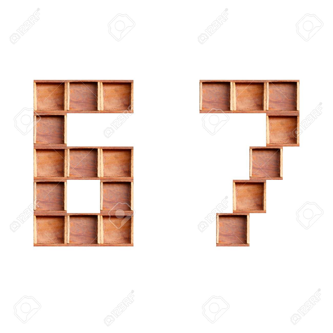 wooden box made of numbers  isolated on white background Stock Photo - 28232169